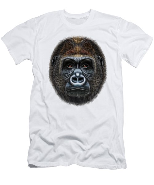Illustrated Portrait Of Gorilla Male. Men's T-Shirt (Slim Fit) by Altay Savrukov