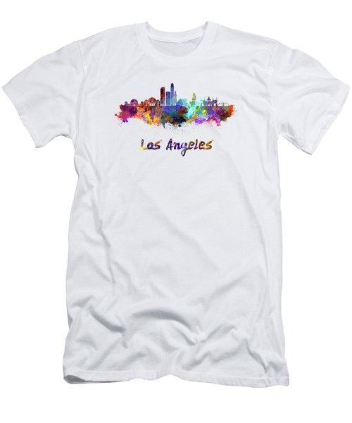 Los Angeles Skyline In Watercolor Men's T-Shirt (Slim Fit) by Pablo Romero