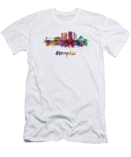 Memphis Skyline In Watercolor Men's T-Shirt (Athletic Fit)