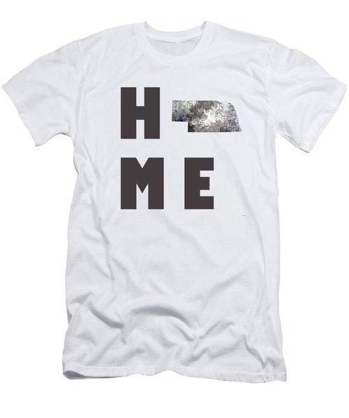 Men's T-Shirt (Slim Fit) featuring the digital art Nebraska State Map by Marlene Watson