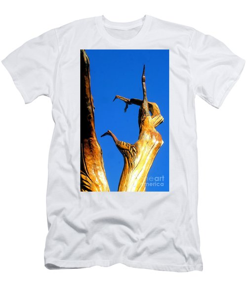 New Orleans Bird Tree Sculpture In Louisiana Men's T-Shirt (Slim Fit) by Michael Hoard