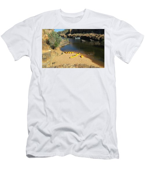 Men's T-Shirt (Slim Fit) featuring the photograph Nitmiluk Gorge Kayaks by Tony Mathews