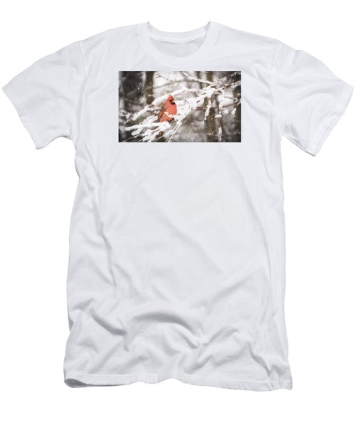 Northern Cardinal In Snow Men's T-Shirt (Athletic Fit)