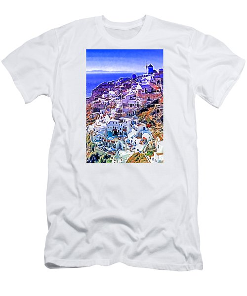 Oia Town On Santorini Men's T-Shirt (Slim Fit) by Dennis Cox WorldViews
