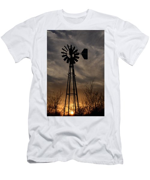Oklahoma Windmill And Sunset Men's T-Shirt (Athletic Fit)