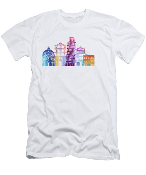 Barcelona Landmarks Watercolor Poster Men's T-Shirt (Athletic Fit)