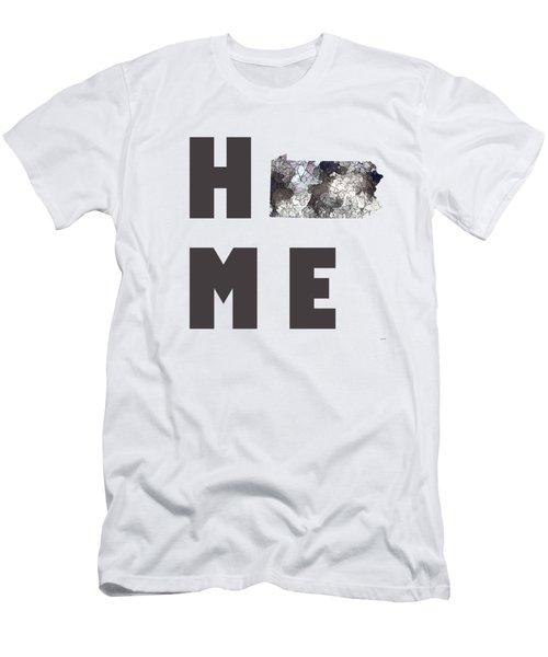 Men's T-Shirt (Slim Fit) featuring the digital art Pennsylvania State Map by Marlene Watson