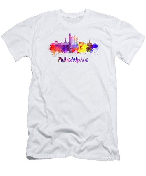 Philadelphia Skyline In Watercolor Men's T-Shirt (Slim Fit) by Pablo Romero