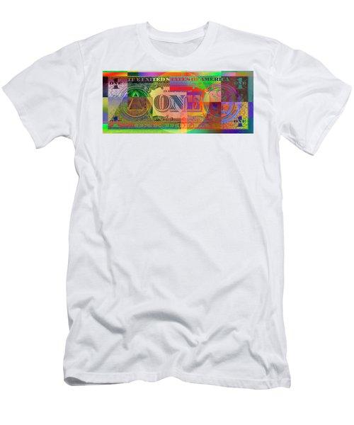Pop-art Colorized One U. S. Dollar Bill Reverse Men's T-Shirt (Slim Fit) by Serge Averbukh