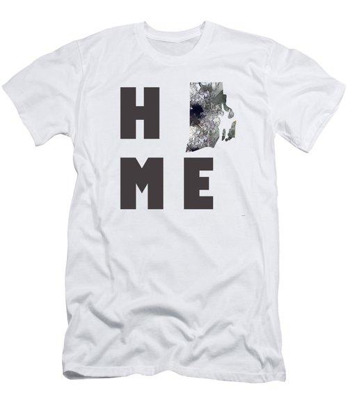 Men's T-Shirt (Slim Fit) featuring the digital art Rhode Island State Map by Marlene Watson