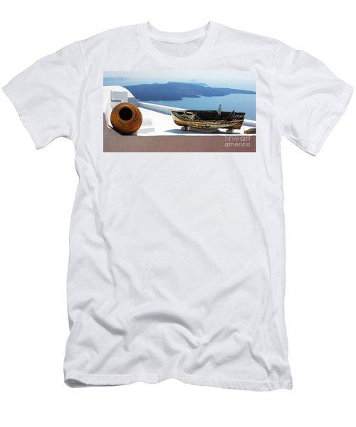 Santorini Greece Men's T-Shirt (Slim Fit) by Bob Christopher