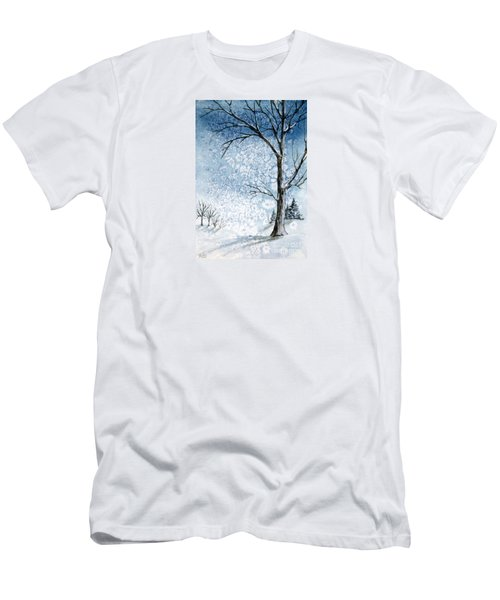 Snowy Night Men's T-Shirt (Slim Fit) by Rebecca Davis