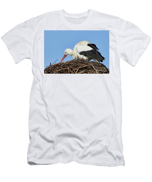 Men's T-Shirt (Athletic Fit) featuring the photograph Stork On A Nest by Nick Biemans