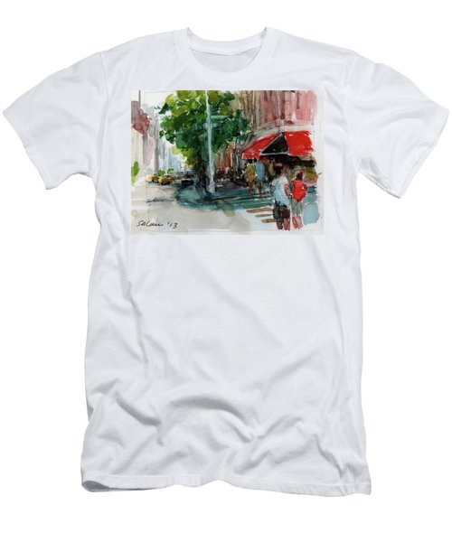 Streetscape With Red Awning - 82nd Street Market Men's T-Shirt (Athletic Fit)