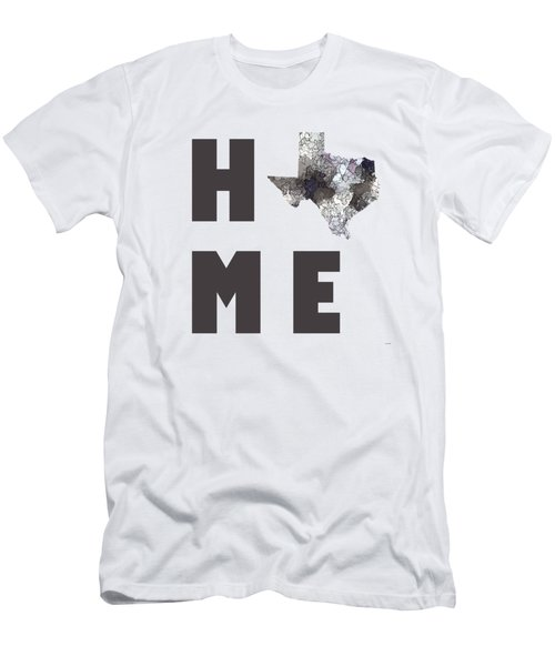 Men's T-Shirt (Slim Fit) featuring the digital art Texas State Map by Marlene Watson