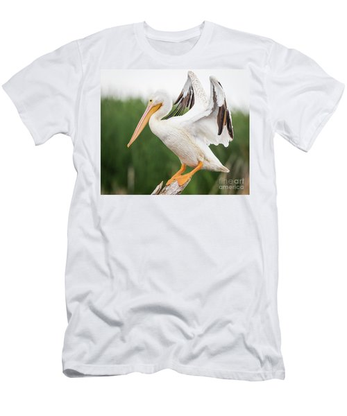 Men's T-Shirt (Athletic Fit) featuring the photograph The Amazing American White Pelican  by Ricky L Jones