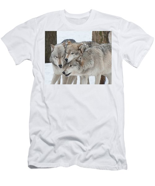 Three Wolves Are A Crowd Men's T-Shirt (Slim Fit) by Gary Slawsky