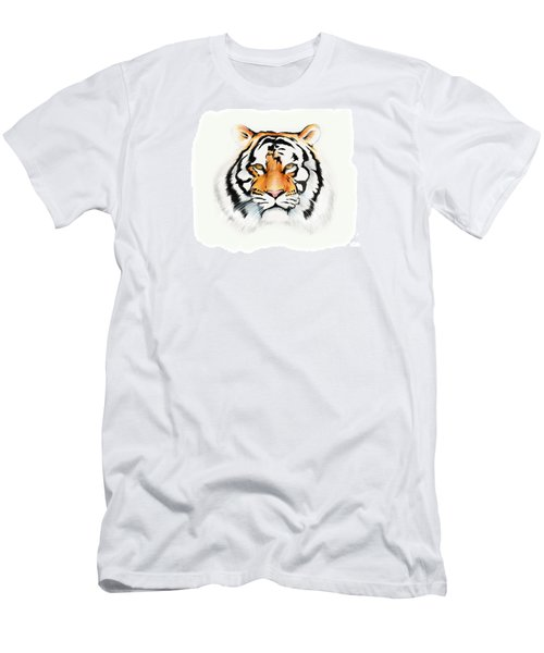 Men's T-Shirt (Slim Fit) featuring the drawing Tiger by Brian Gibbs