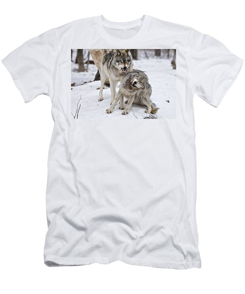 Men's T-Shirt (Slim Fit) featuring the photograph Timber Wolves In Winter by Michael Cummings