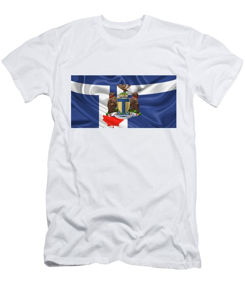Toronto - Coat Of Arms Over City Of Toronto Flag  Men's T-Shirt (Slim Fit) by Serge Averbukh