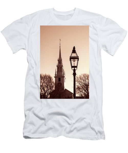 Trinity Church Newport With Lamp Men's T-Shirt (Slim Fit) by Nancy De Flon