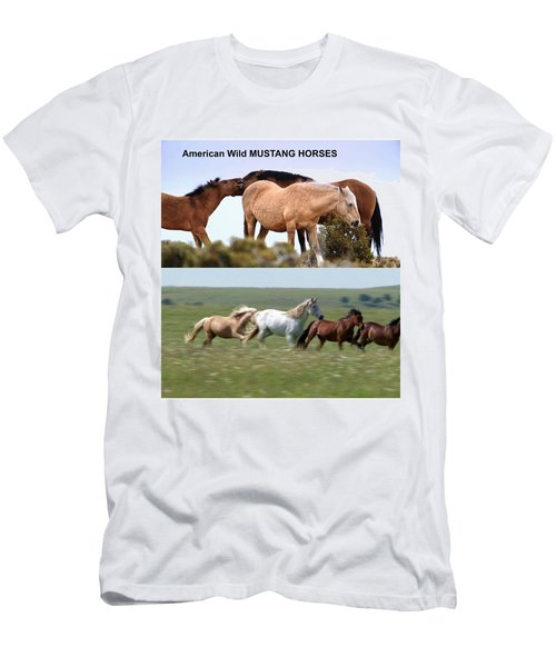 Twin Photos Awesome North American Mustangs Horses Cowboys Photography See On Posters Pillows Curtai Men's T-Shirt (Slim Fit) by Navin Joshi
