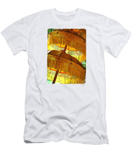 Umbrellas Yellow Men's T-Shirt (Slim Fit) by Linda Olsen