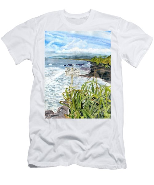 Men's T-Shirt (Slim Fit) featuring the painting View From Tanah Lot Bali Indonesia by Melly Terpening