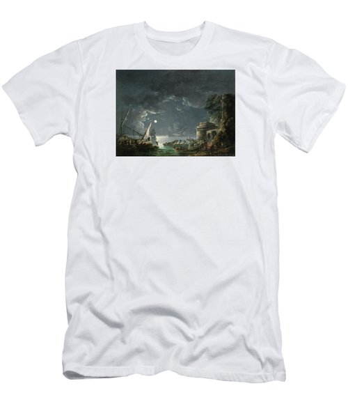 Men's T-Shirt (Slim Fit) featuring the painting View Of A Moonlit Mediterranean Harbor by Carlo Bonavia