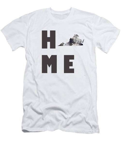 Men's T-Shirt (Slim Fit) featuring the digital art Virginia State Map by Marlene Watson