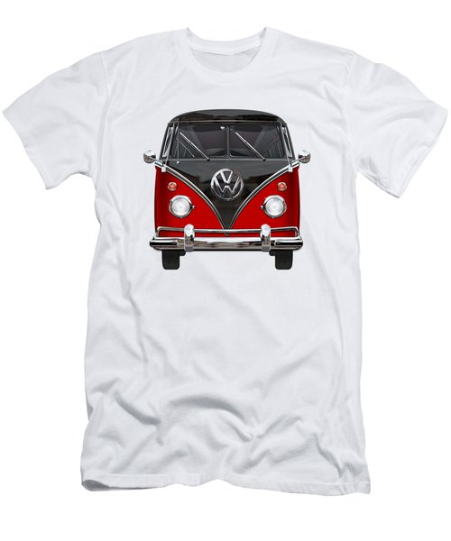 Volkswagen Type 2 - Red And Black Volkswagen T 1 Samba Bus On White  Men's T-Shirt (Slim Fit) by Serge Averbukh