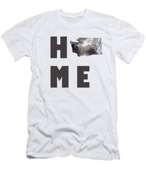 Men's T-Shirt (Slim Fit) featuring the digital art Washington State Map by Marlene Watson