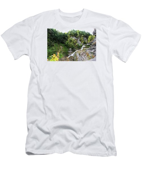 Men's T-Shirt (Slim Fit) featuring the photograph Waterfall At Robert Treman State Park II by Trina  Ansel