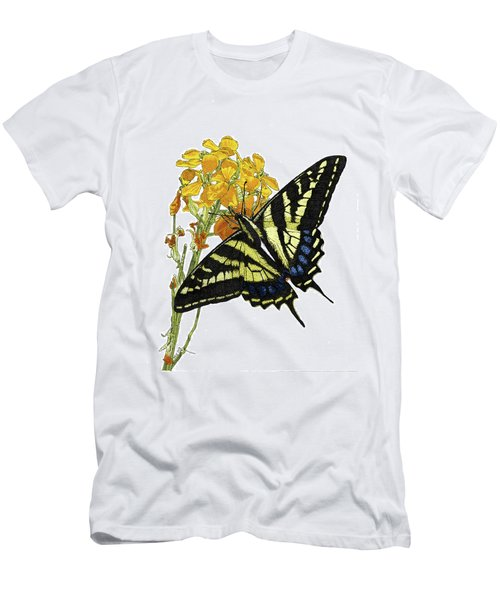Western Tiger Swallowtail On A Western Wallflower Men's T-Shirt (Athletic Fit)