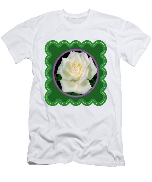 White Rose Flower Floral Posters Photography And Graphic Fusion Art Navinjoshi Fineartamerica Pixels Men's T-Shirt (Slim Fit) by Navin Joshi