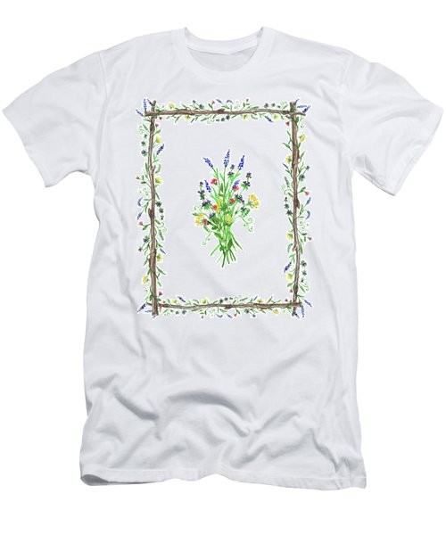 Men's T-Shirt (Athletic Fit) featuring the painting Wild Flowers Decorative Watercolor by Irina Sztukowski