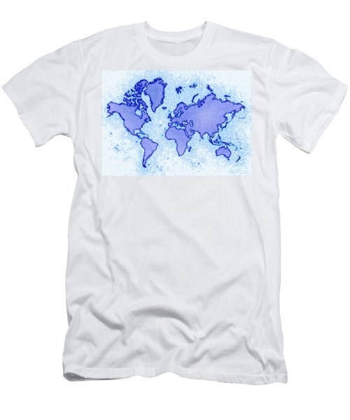 World Map Airy In Blue And White Men's T-Shirt (Slim Fit) by Eleven Corners
