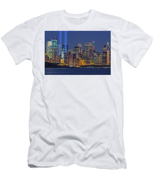 Men's T-Shirt (Slim Fit) featuring the photograph World Trade Center Wtc Tribute In Light Memorial II by Susan Candelario