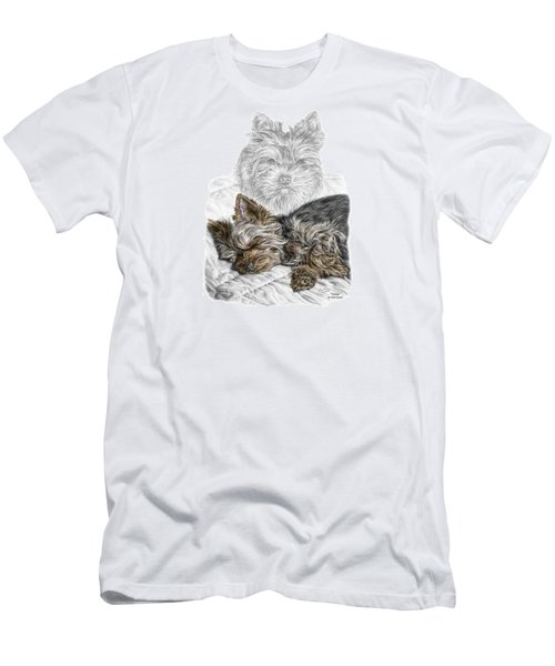 Men's T-Shirt (Slim Fit) featuring the drawing Yorkie - Yorkshire Terrier Dog Print by Kelli Swan