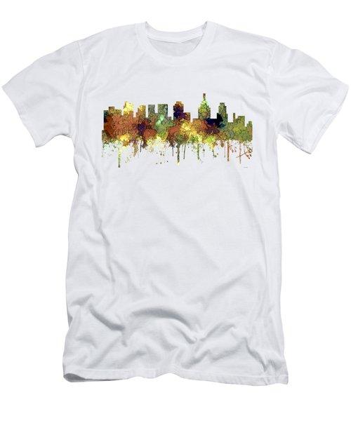 Philadelphia Pennsylvania Skyline Men's T-Shirt (Slim Fit) by Marlene Watson