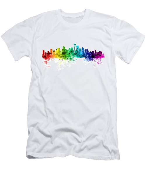 Seattle Washington Skyline Men's T-Shirt (Slim Fit) by Michael Tompsett