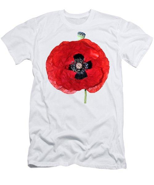 Poppy Flower Men's T-Shirt (Slim Fit) by George Atsametakis