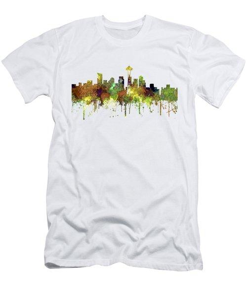 Seattle Washington Skyline Men's T-Shirt (Slim Fit) by Marlene Watson