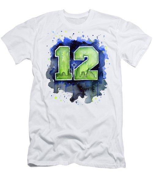 12th Man Seahawks Art Seattle Go Hawks Men's T-Shirt (Slim Fit) by Olga Shvartsur