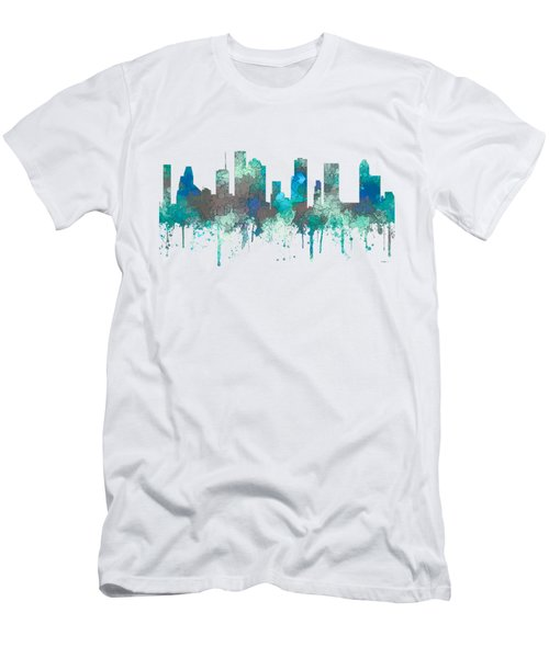Men's T-Shirt (Slim Fit) featuring the digital art Houston Texas Skyline by Marlene Watson