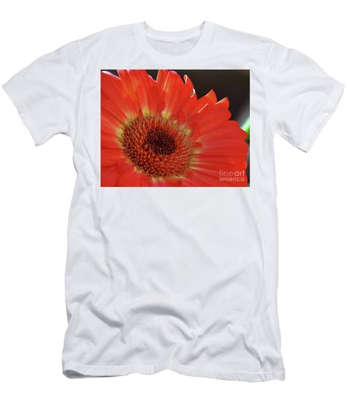 Men's T-Shirt (Slim Fit) featuring the photograph Red Gerber by Elvira Ladocki