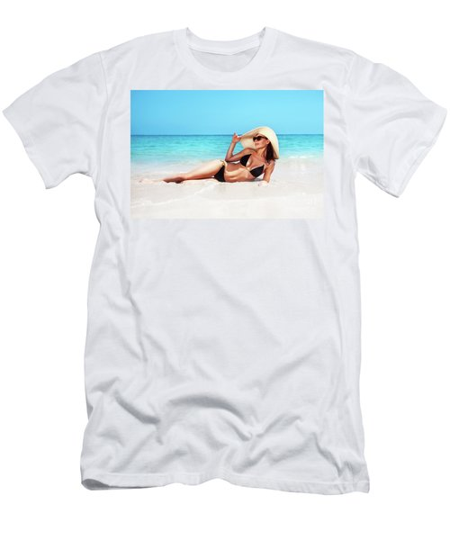 Beautiful Woman On The Beach Men's T-Shirt (Athletic Fit)