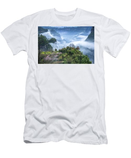 Mountains Scenery In The Mist Men's T-Shirt (Athletic Fit)