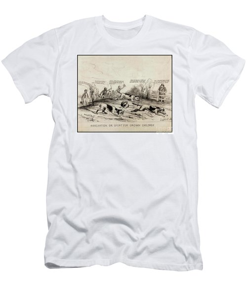Men's T-Shirt (Athletic Fit) featuring the drawing 1845 Texas Mexico Annexation Cartoon by Peter Gumaer Ogden