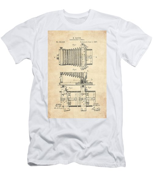 1897 Camera Us Patent Invention Drawing - Vintage Tan Men's T-Shirt (Athletic Fit)